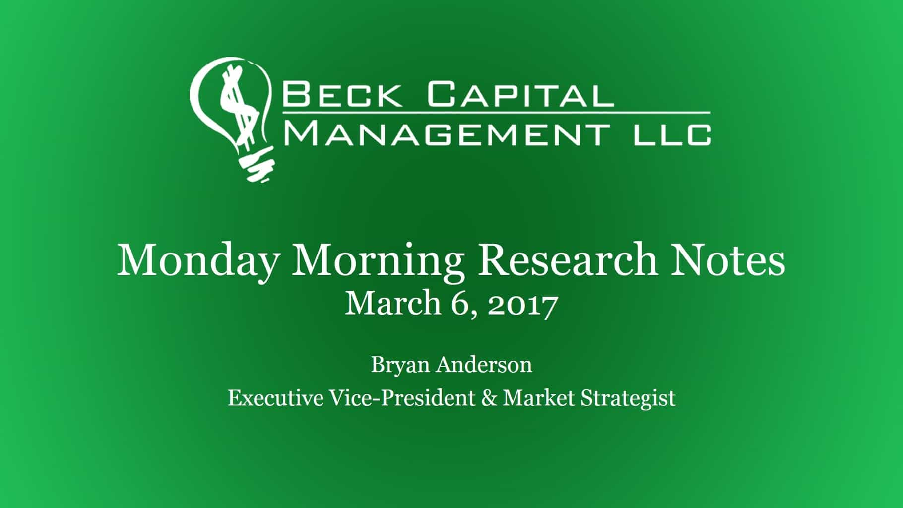 Monday Morning Research Notes - March 6, 2017